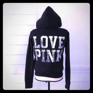 PINK Faux Fur Lined Hoodie Sweatshirt Sequined M